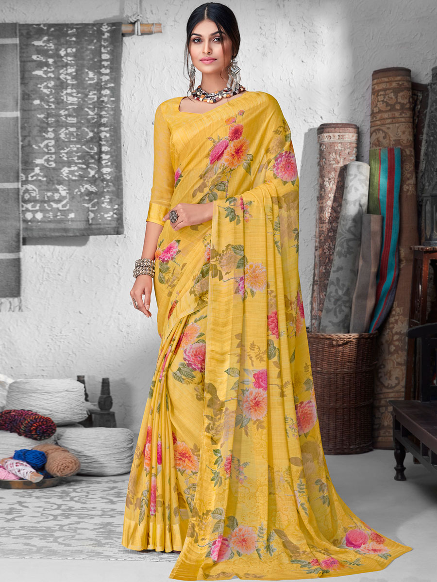 Mustard Yellow Chiffon Printed Casual Saree