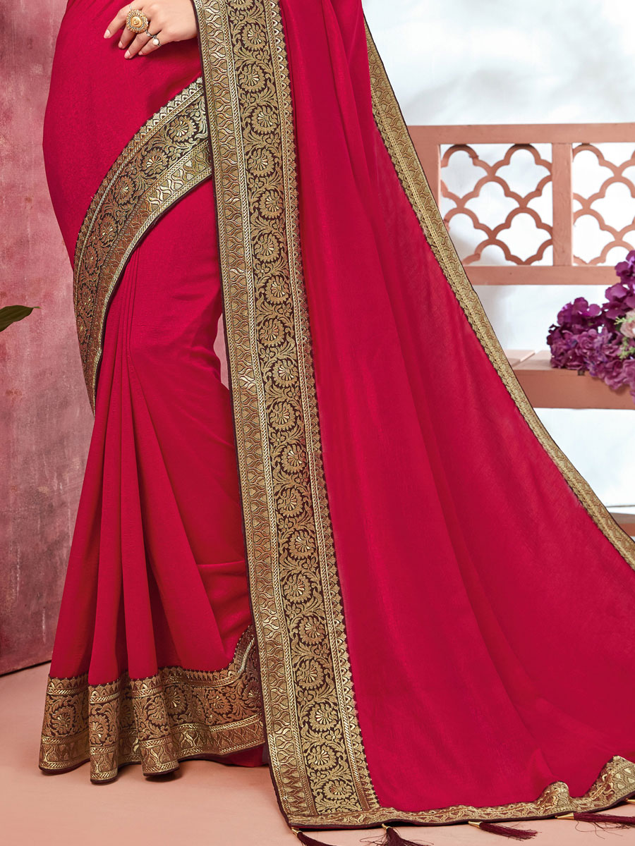 Dark Magenta Pink Vichitra Silk Handwoven Festival Saree