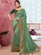 Dark Celadon Green Vichitra Silk Handwoven Festival Saree