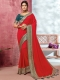 Rose Madder Red Vichitra Silk Handwoven Festival Saree