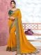 Mustard Yellow Vichitra Silk Handwoven Festival Saree