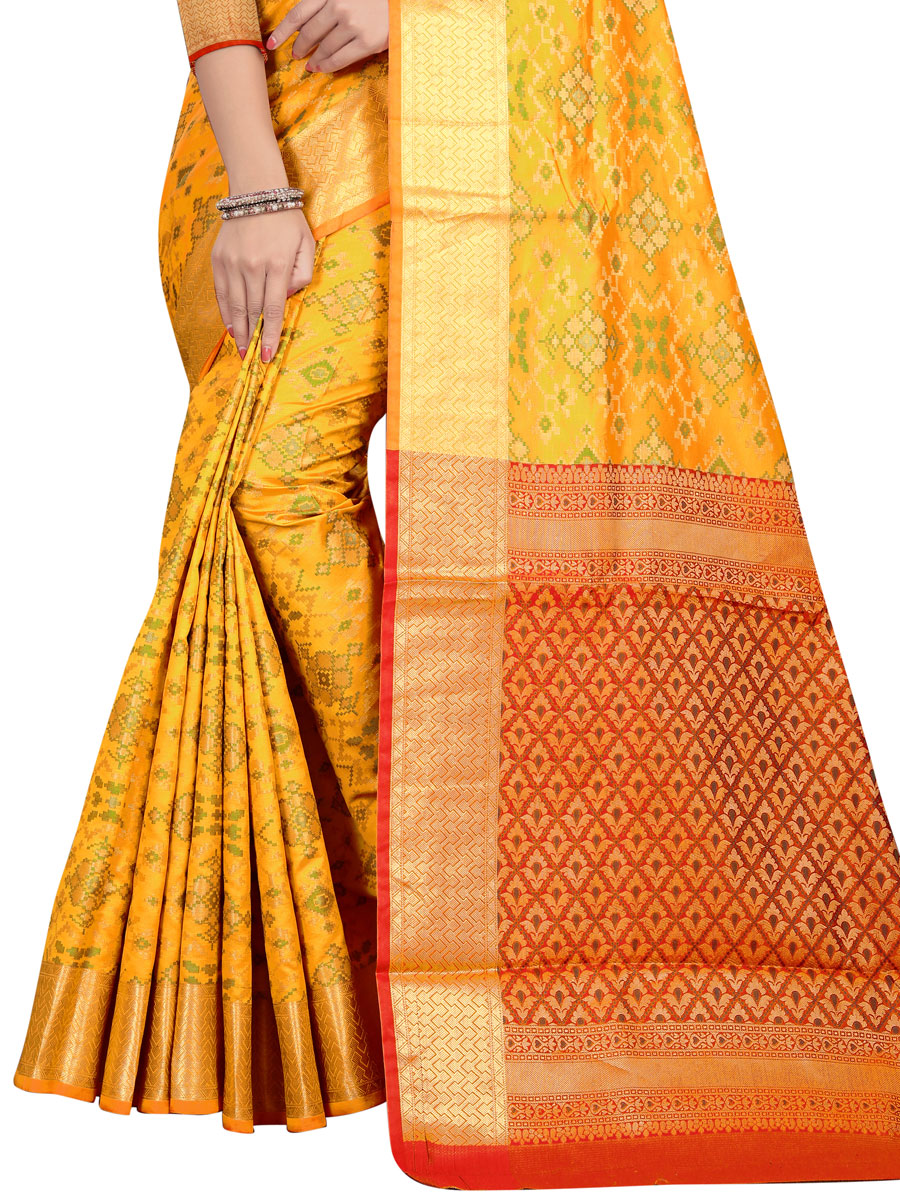 Amber Yellow Jacquard Silk Handwoven Festival Saree