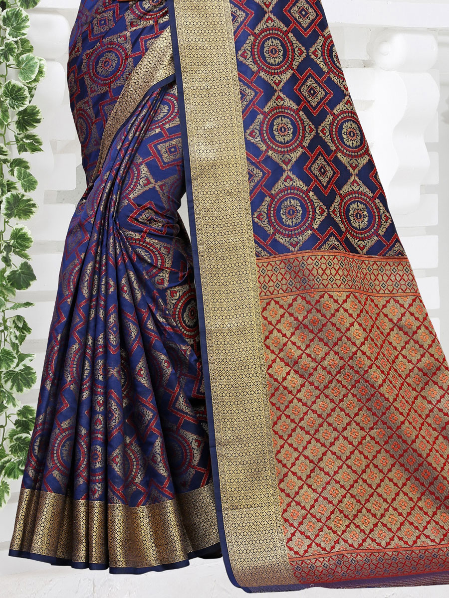 Dark Blue Silk Handwoven Festival Saree