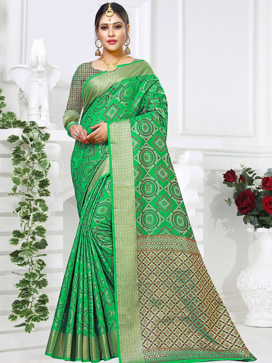 Pigment Green Silk Handwoven Festival Saree