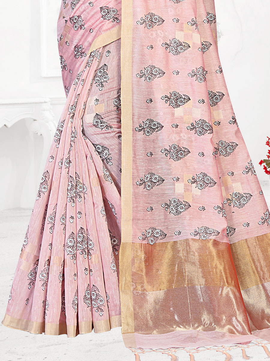 Light Pink Linen Printed Festival Saree
