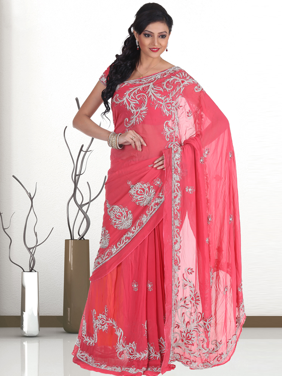 Brink Pink Faux Georgette Embroidered Party Saree