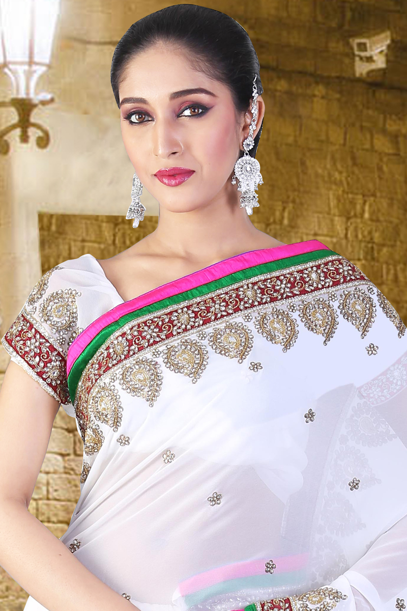 Off-white Faux Georgette Embroidered Party Saree