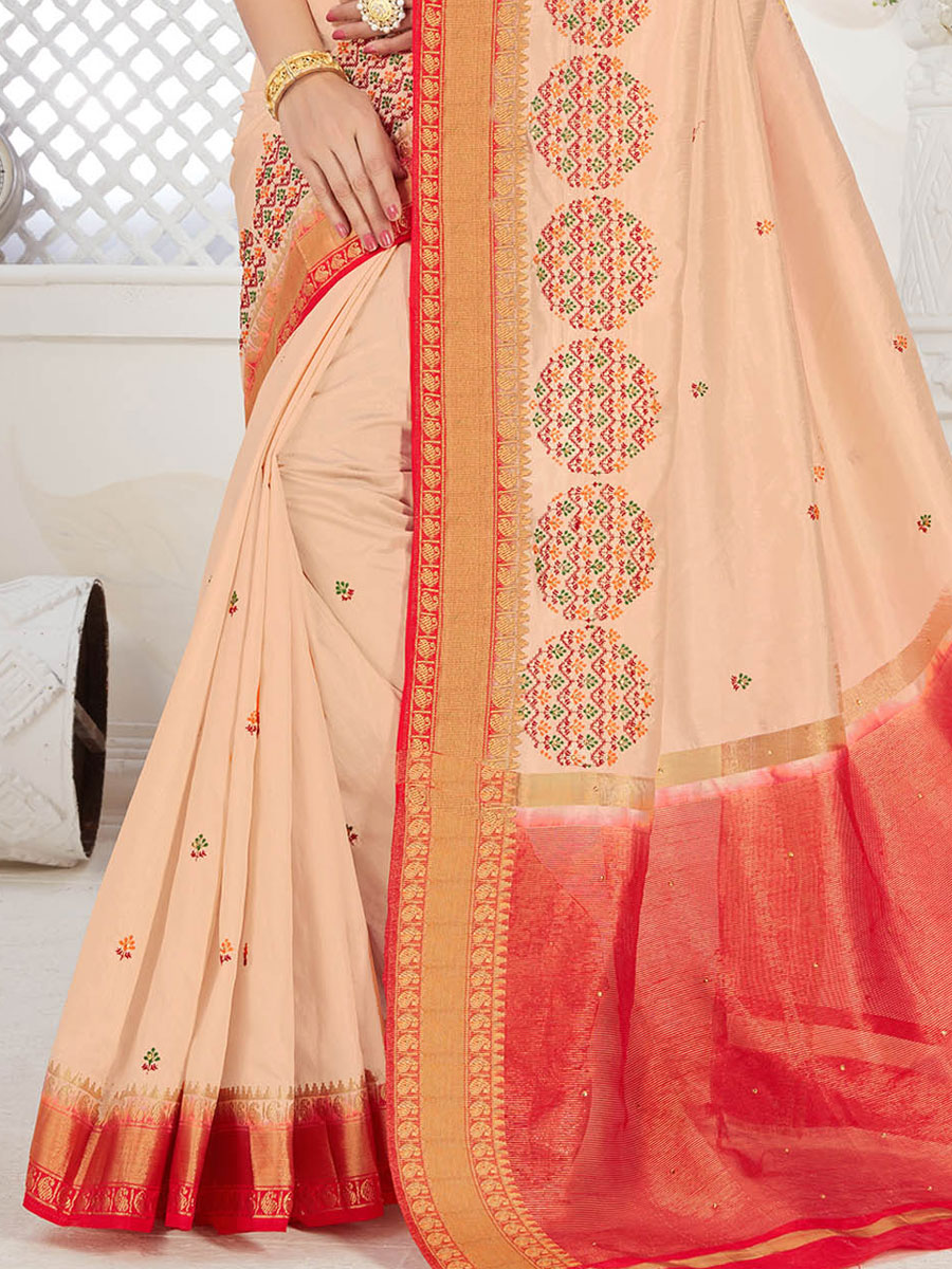 Cream Yellow and Vermilion Red Silk Embroidered Party Saree