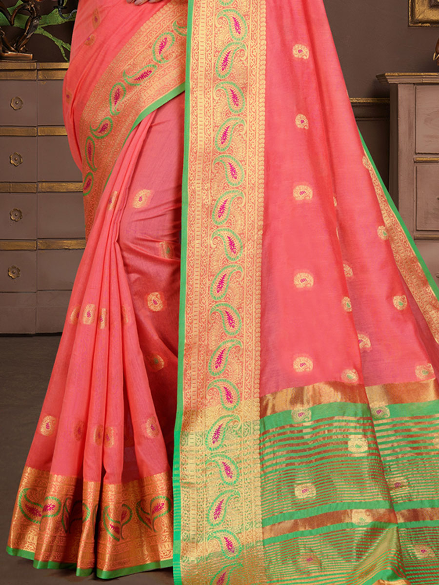 Brink Pink Cotton Silk Handwoven Festival Saree