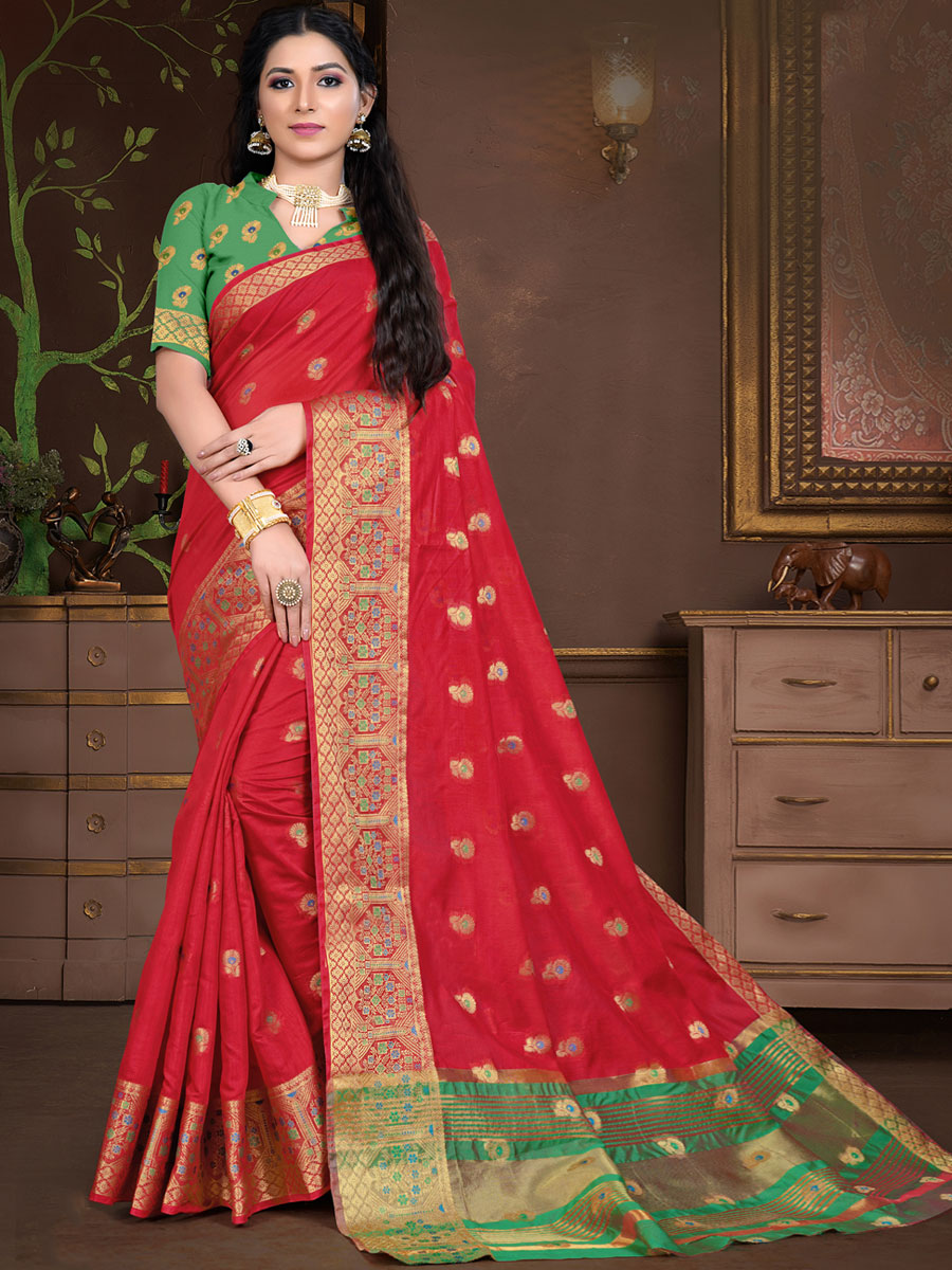 Rose Madder Red Cotton Silk Handwoven Festival Saree