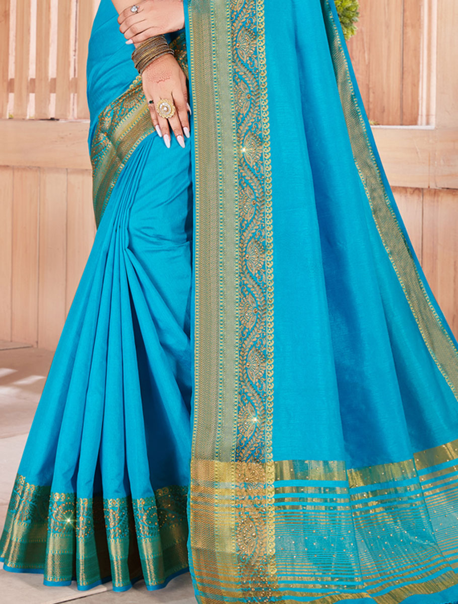 Dodger Blue Silk Embroidered Party Saree