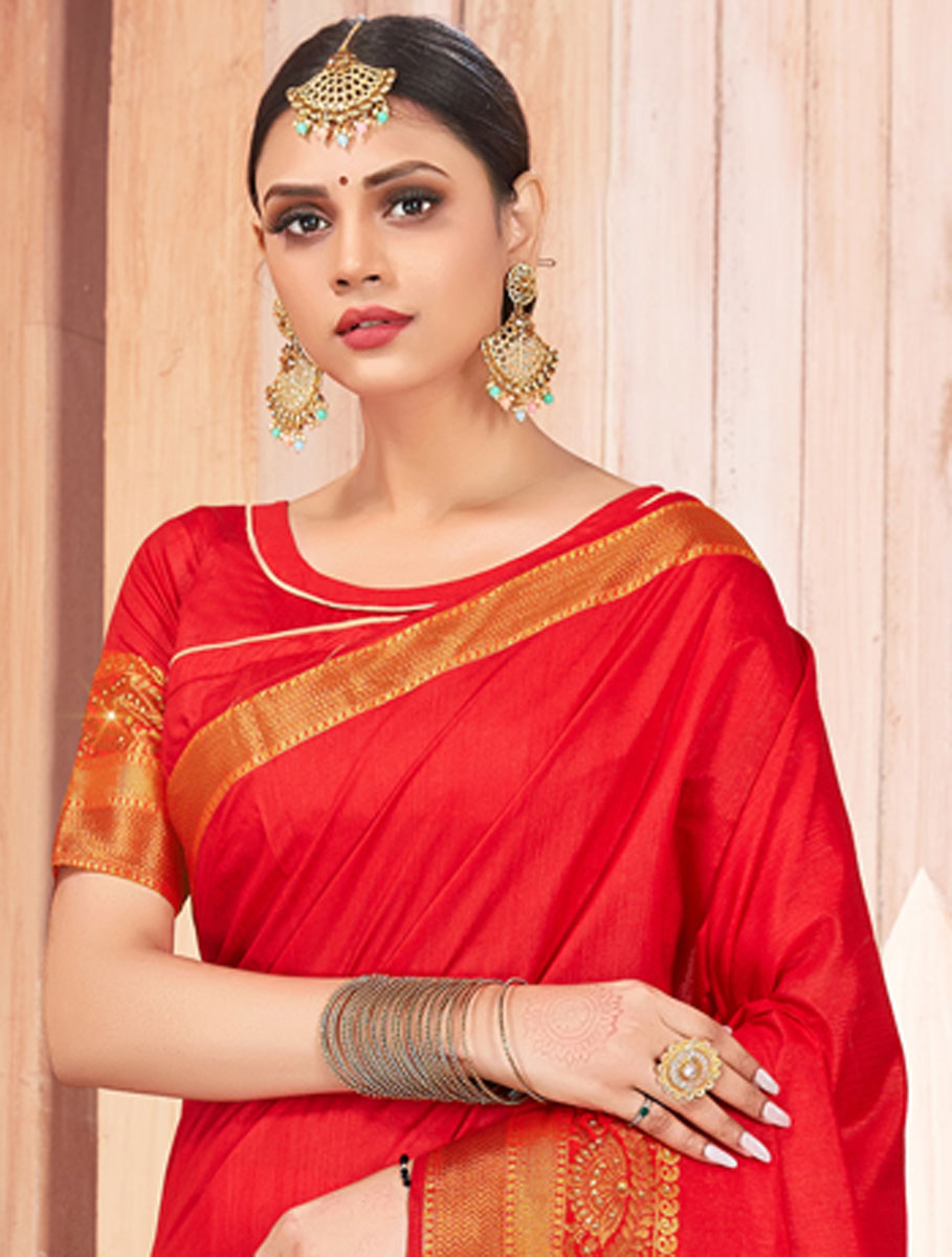Rose Madder Red Silk Embroidered Party Saree