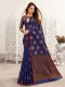 Navy Blue Linen Handwoven Festival Saree