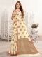 Cream Yellow Linen Handwoven Festival Saree