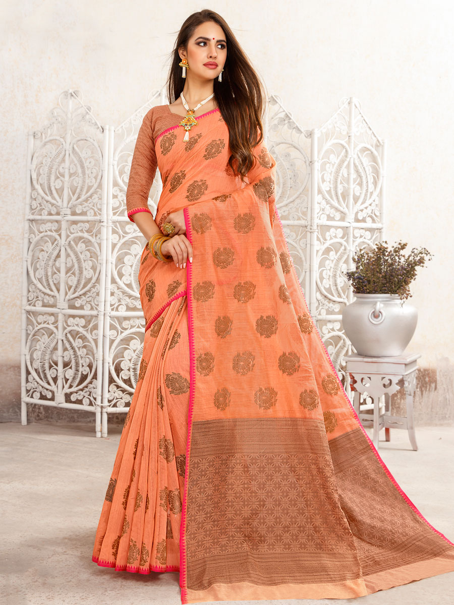 Coral Orange Linen Handwoven Festival Saree