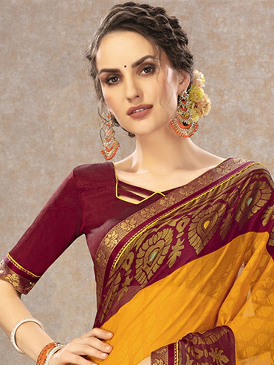 Amber Yellow and Maroon Fancy Printed Casual Saree
