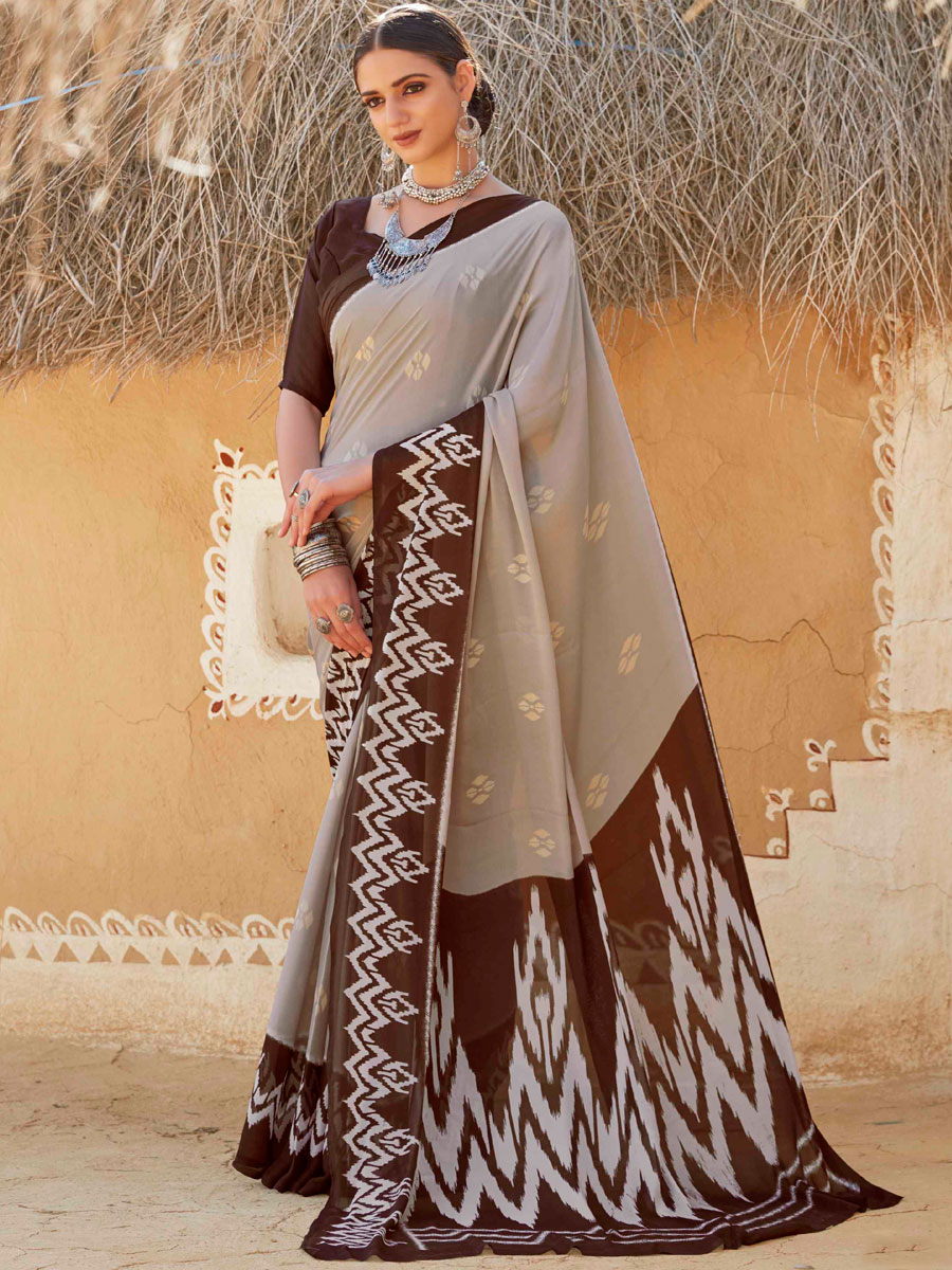 Light Gray and Auburn Brown Crepe Silk Printed Casual Saree