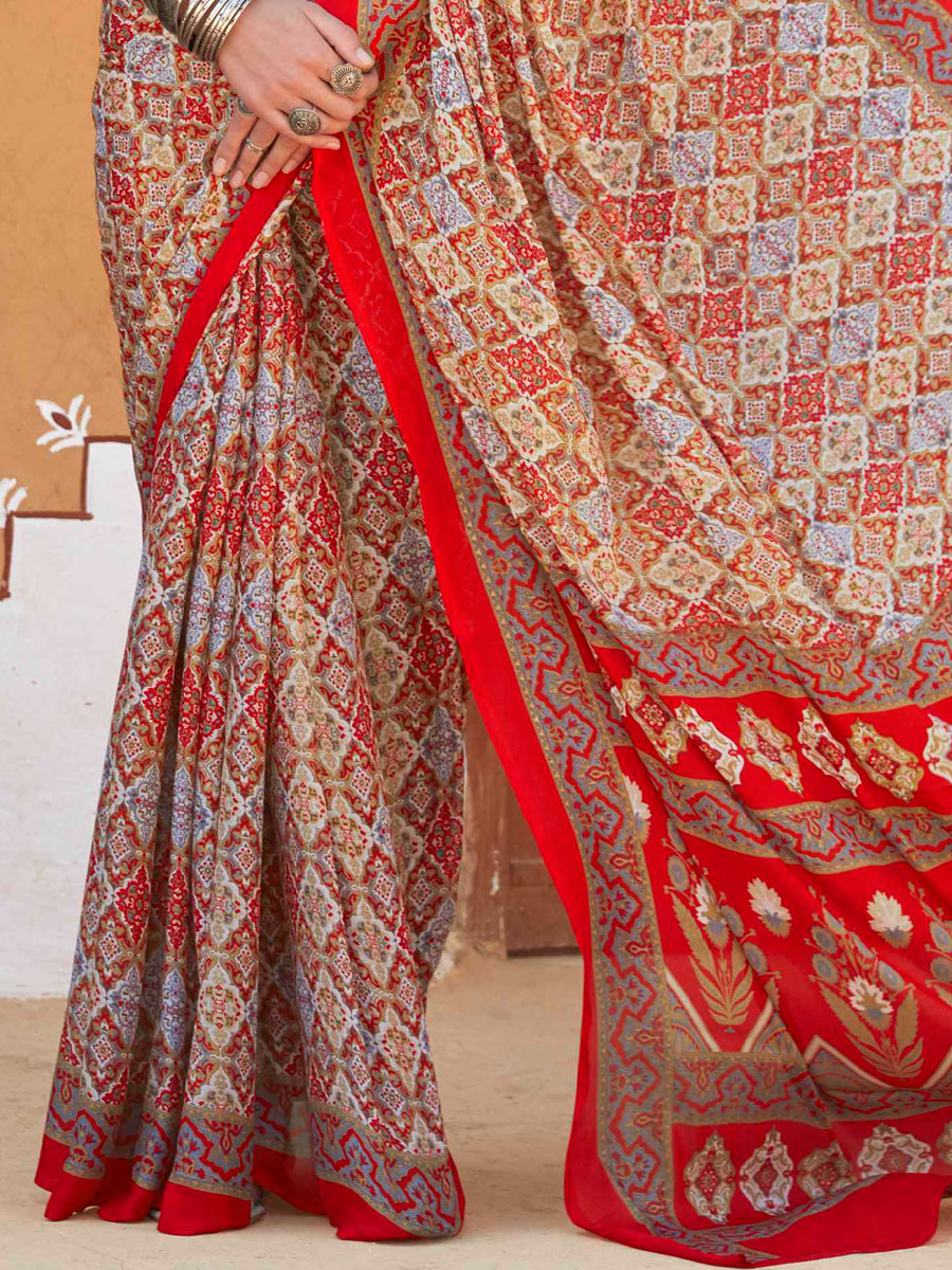 Cream Yellow and Rose Madder Red Crepe Silk Printed Casual Saree