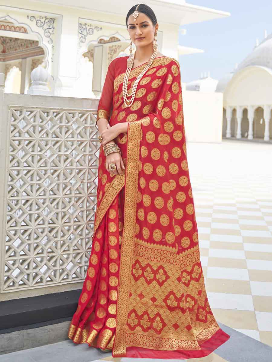 Rose Madder Red Chiffon Handwoven Festival Saree