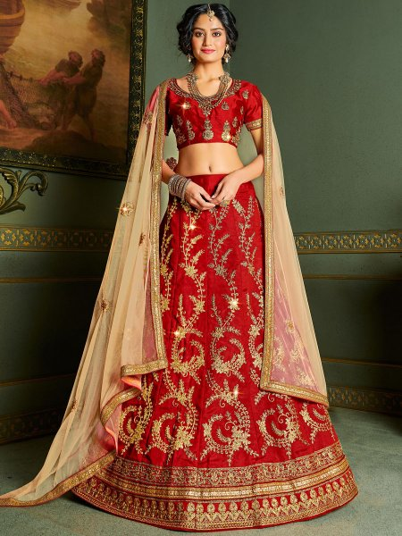 Venetian Red Silk Embroidered Wedding Lehenga Choli