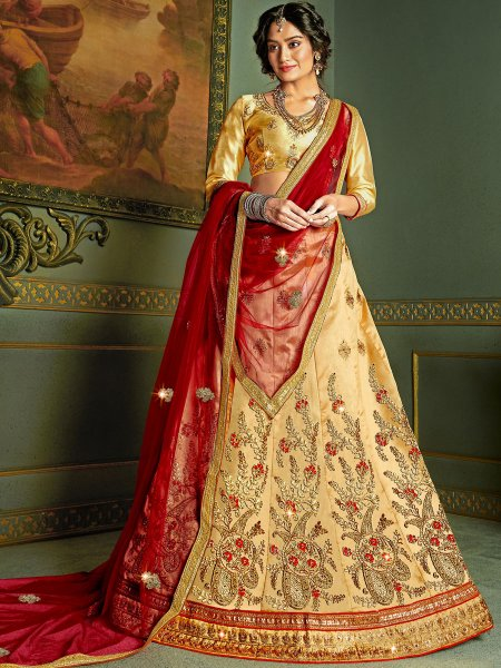 Beige Yellow Silk Embroidered Wedding Lehenga Choli