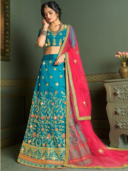 Bondi Blue Silk Embroidered Wedding Lehenga Choli