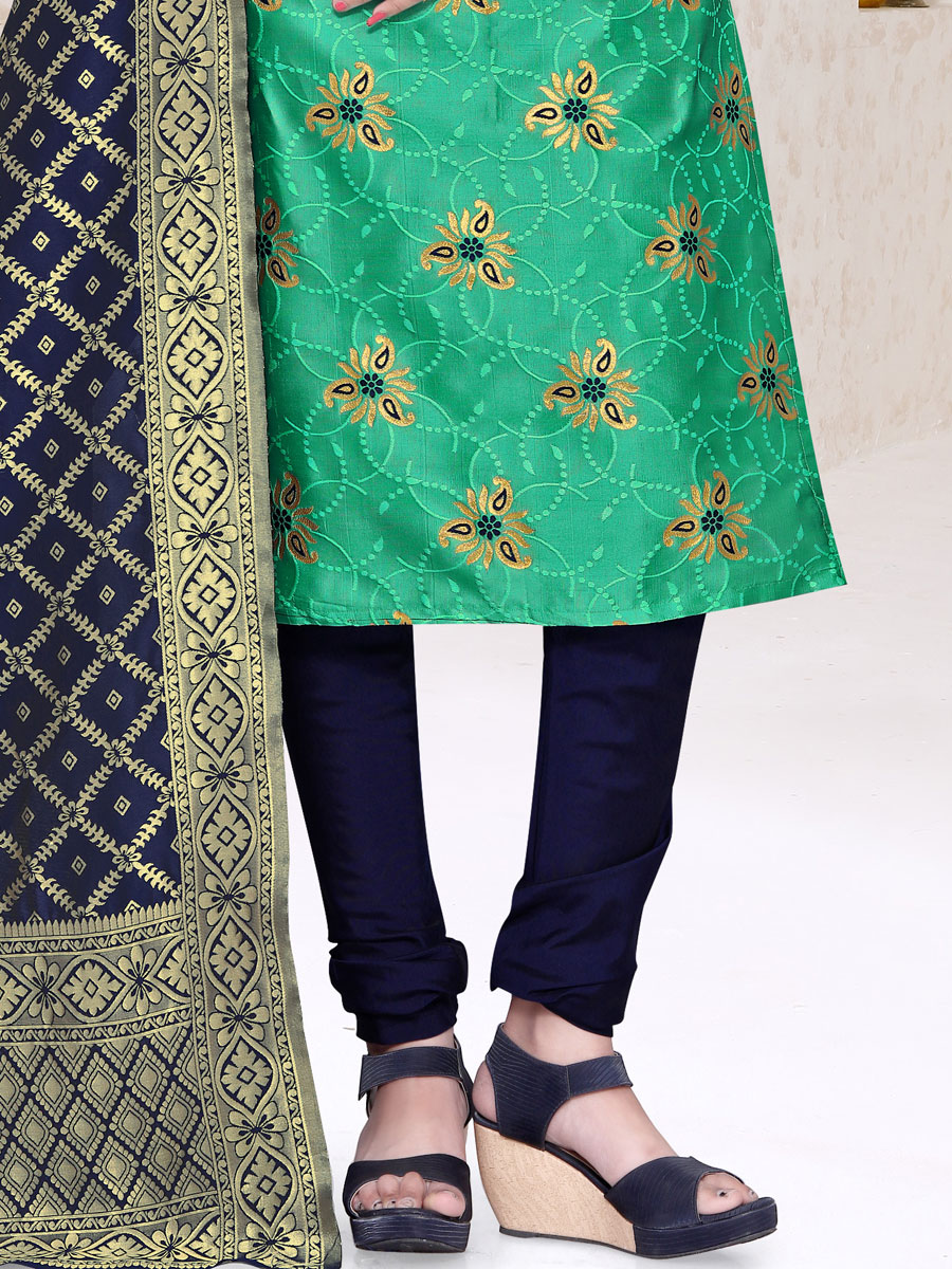 Jungle Green Banarasi Silk Handwoven Casual Churidar Pant Kameez