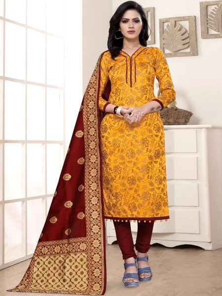 Amber Yellow Banarasi Silk Handwoven Casual Churidar Pant Kameez