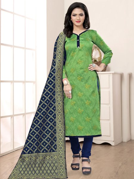 Light Green Banarasi Silk Handwoven Casual Churidar Pant Kameez