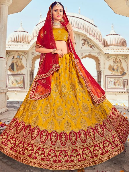 Mustard Yellow Silk Embroidered Wedding Lehenga Choli