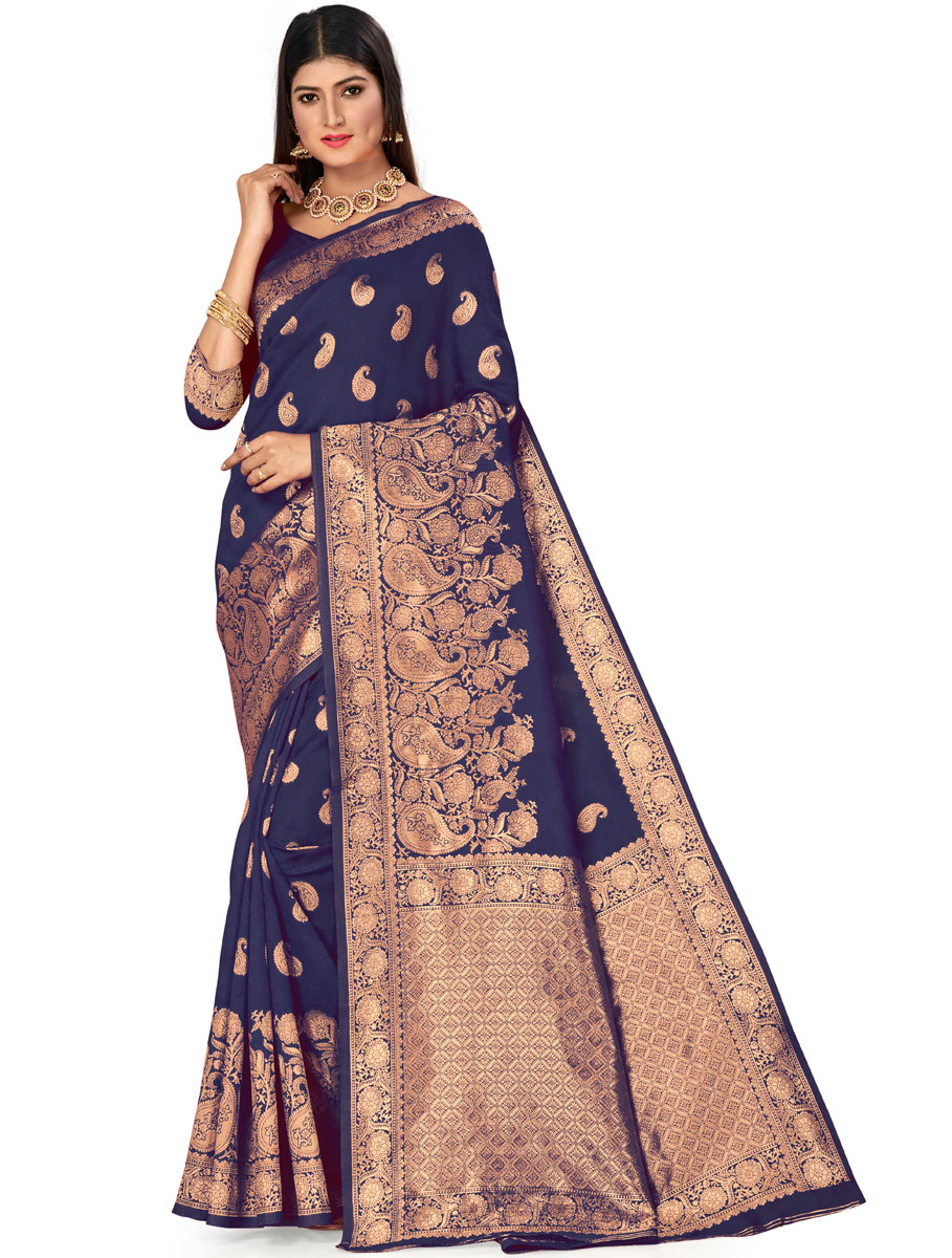 Navy Blue Banarasi Silk Handwoven Festival Saree
