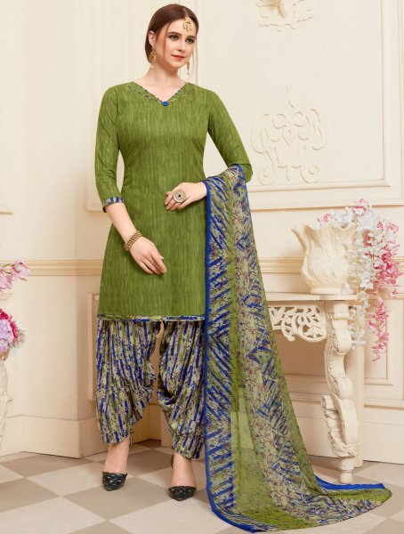 Fern Green Cotton Printed Casual Patiala Pant Kameez