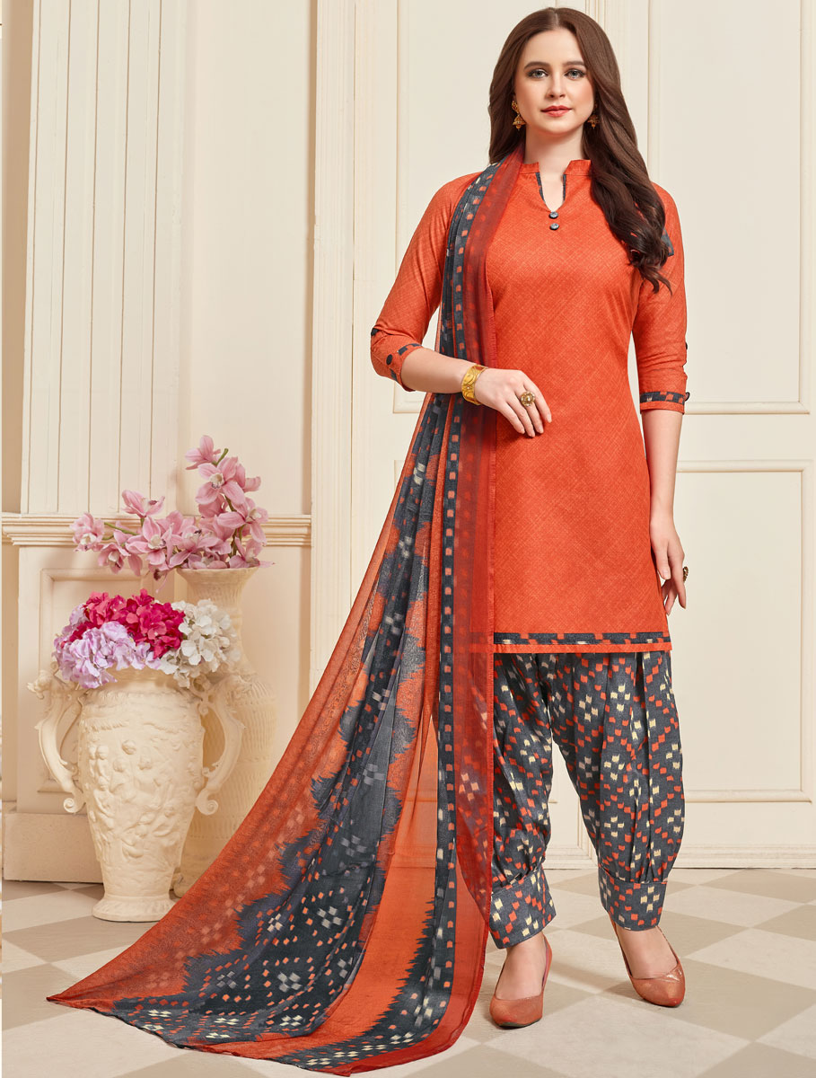 Portland Orange Cotton Printed Casual Patiala Pant Kameez