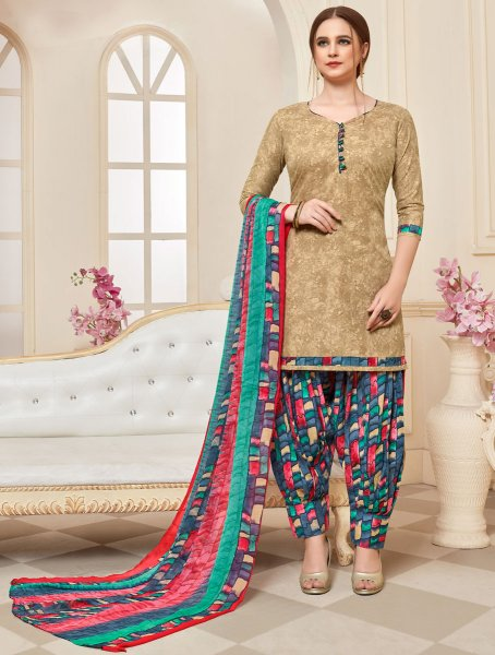 Beige Yellow Cotton Printed Casual Patiala Pant Kameez