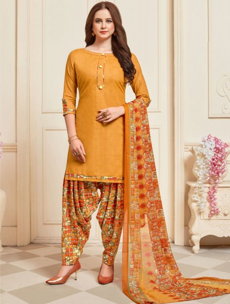 Gamboge Yellow Cotton Printed Casual Patiala Pant Kameez