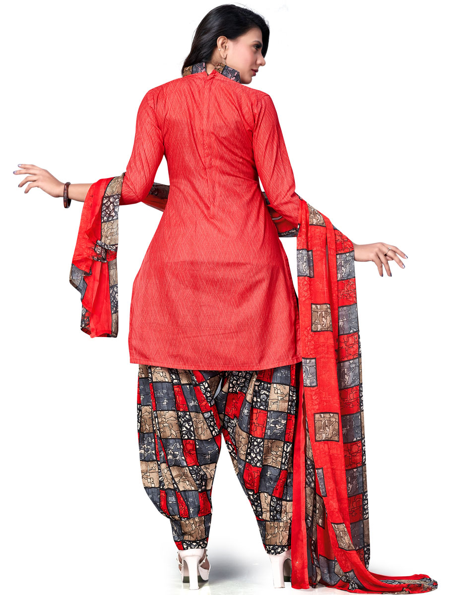Rose Madder Red Cotton Printed Casual Patiala Pant Kameez
