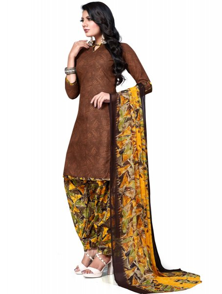 Auburn Brown Cotton Printed Casual Patiala Pant Kameez