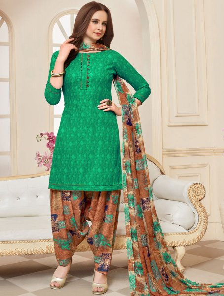 Jade Green Cotton Printed Casual Patiala Pant Kameez