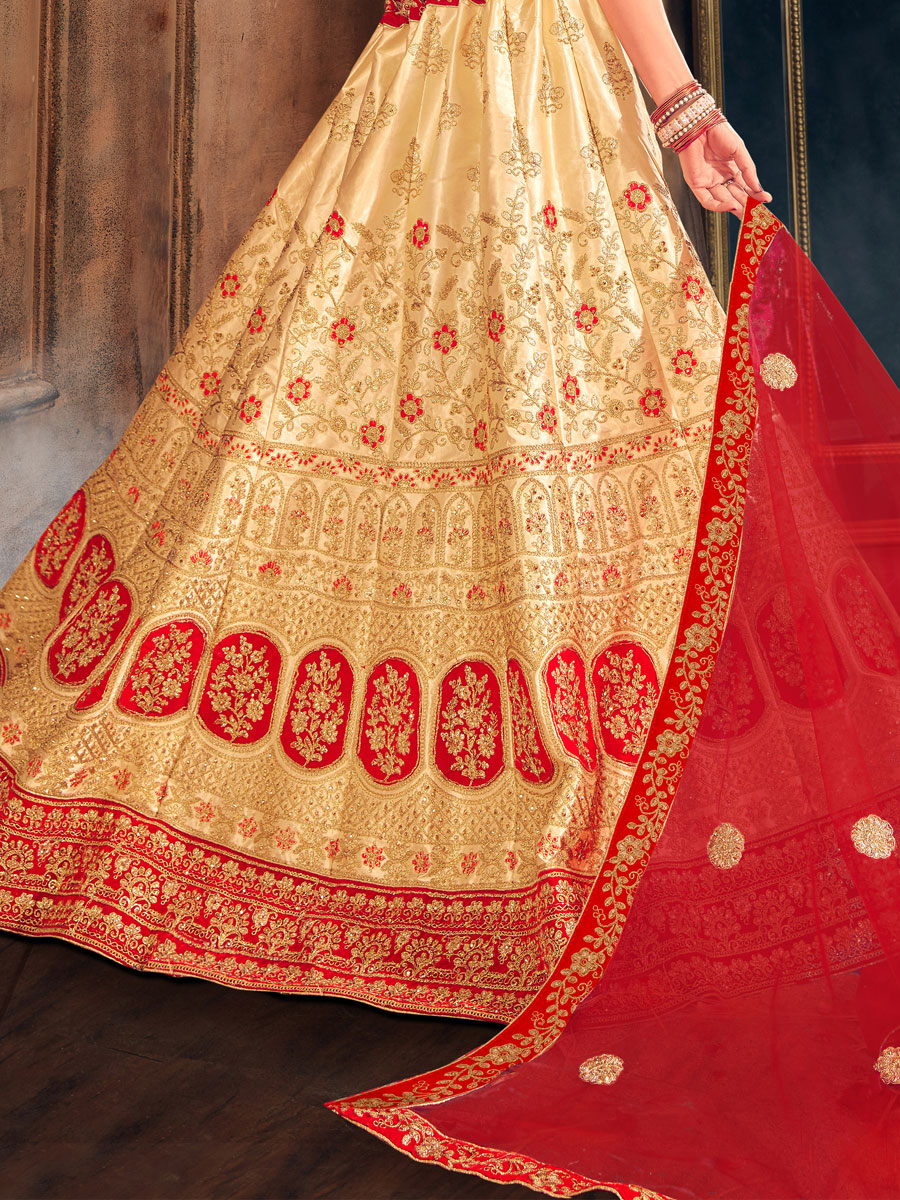 Beige Yellow Satin Silk Embroidered Bridal Lehenga Choli