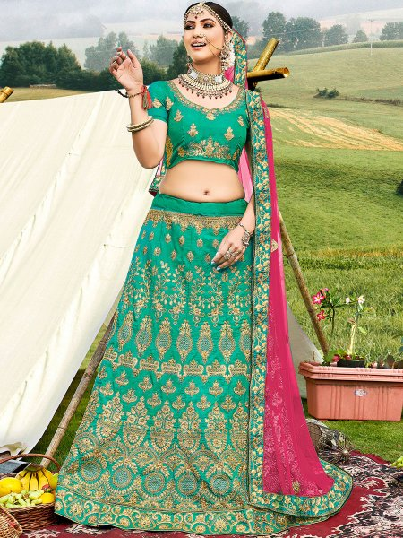 Sea Green Banglori Silk Embroidered Wedding Lehnega Choli