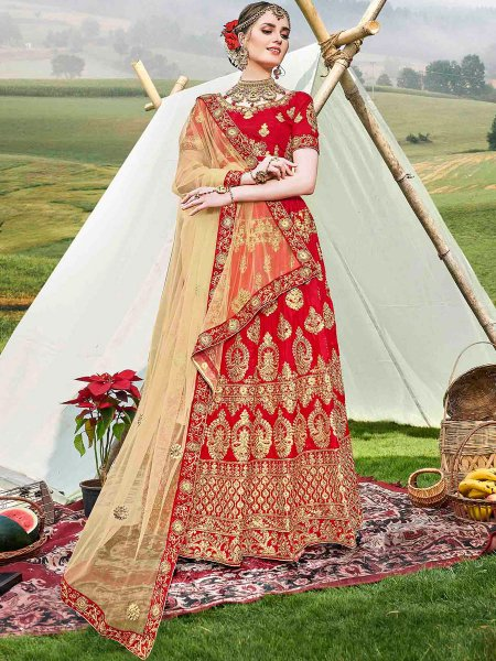 Rose Madder Red Banglori Silk Embroidered Wedding Lehnega Choli