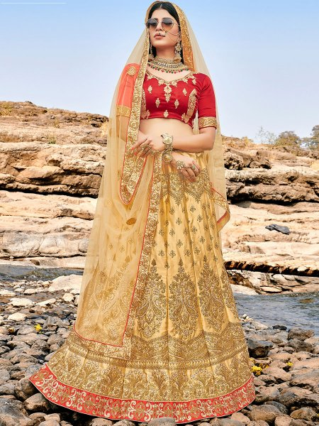Beige Yellow Satin Silk Embroidered Festival Lehenga Choli