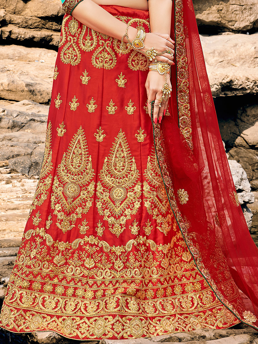 Rose Madder Red Satin Silk Embroidered Festival Lehenga Choli