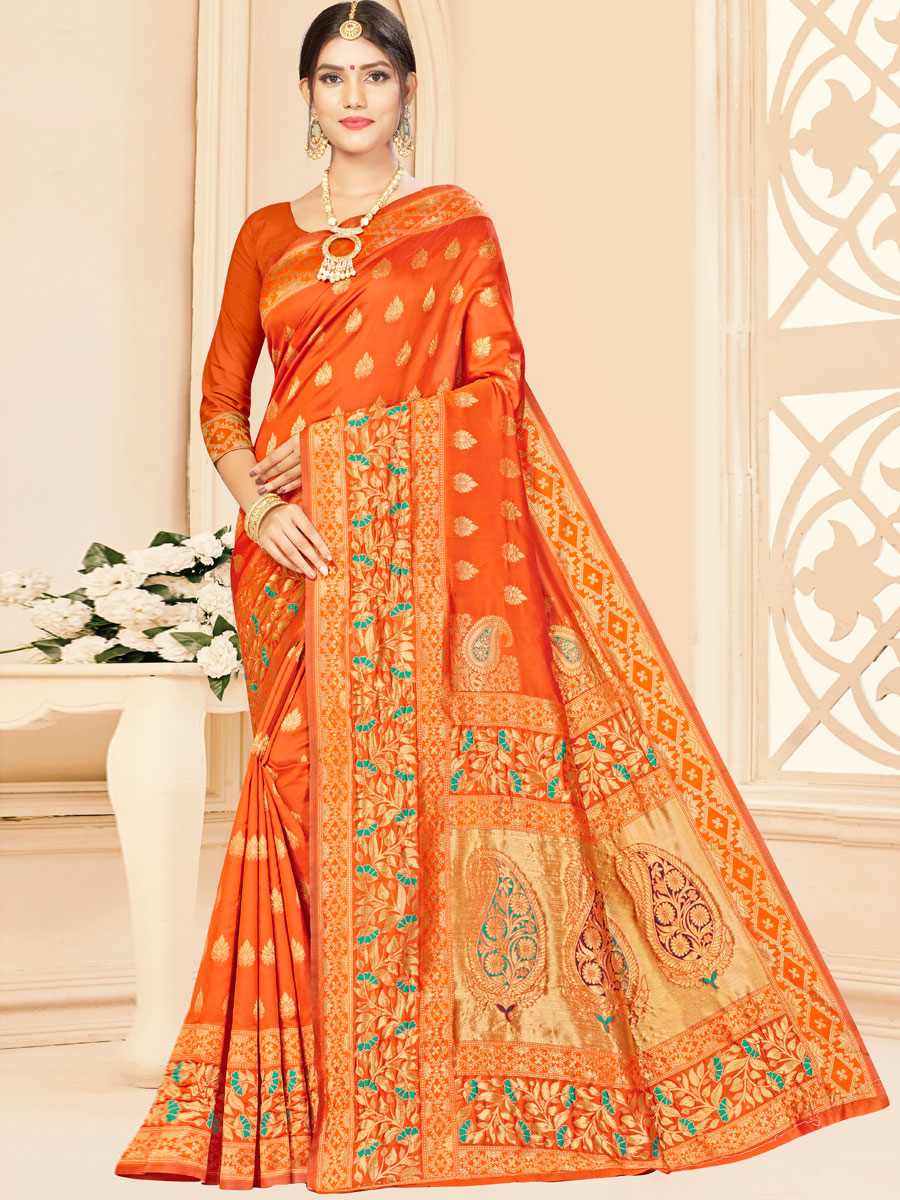 Portland Orange Banarasi Silk Handwoven Festival Saree