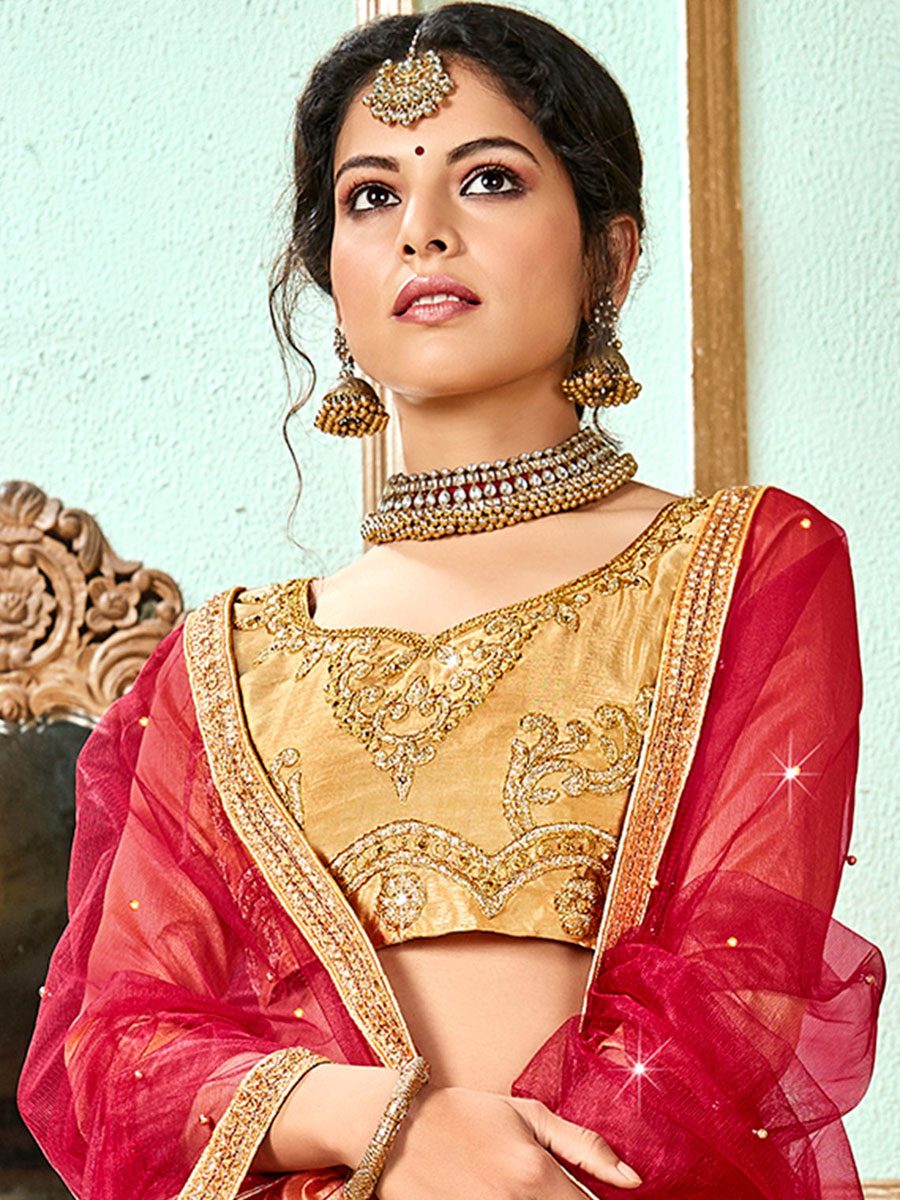 Beige Yellow Banglori Silk Embroidered Wedding Lehnega Choli