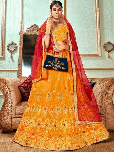 Amber Yellow Banglori Silk Embroidered Wedding Lehnega Choli
