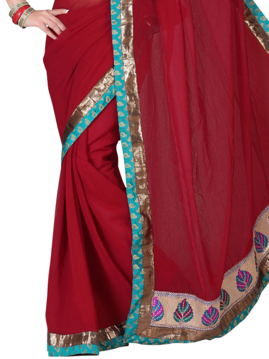 Maroon Chiffon Plain Party Saree