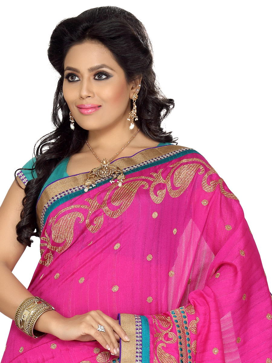 Rose Pink Bhagalpuri Silk Embroidered Party Saree