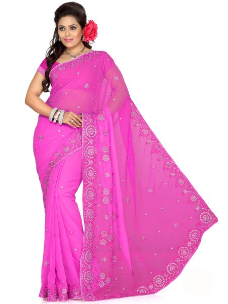 Rose Pink Chiffon Embroidered Party Saree