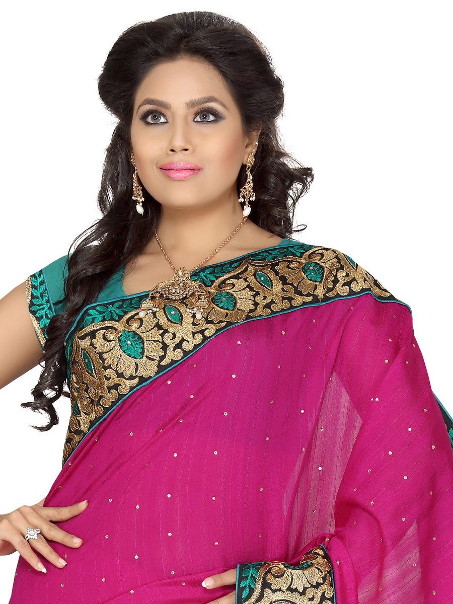 Magenta Pink Bhagalpuri Silk Embroidered Party Saree